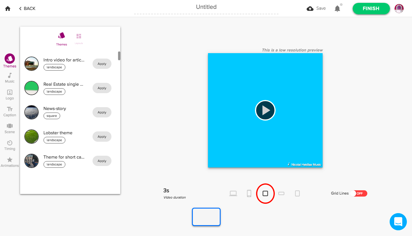 Square format for tablet viewing in Rocketium
