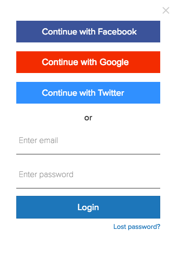 social media login in rocketium