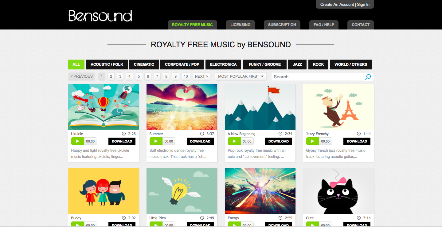 royalty-free music from bensound