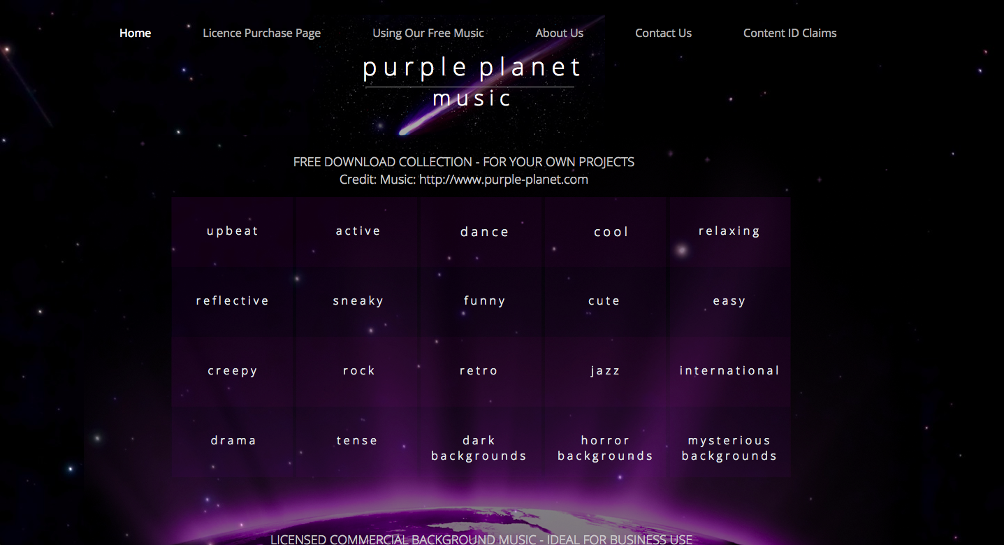 royalty-free music from purpleplanet