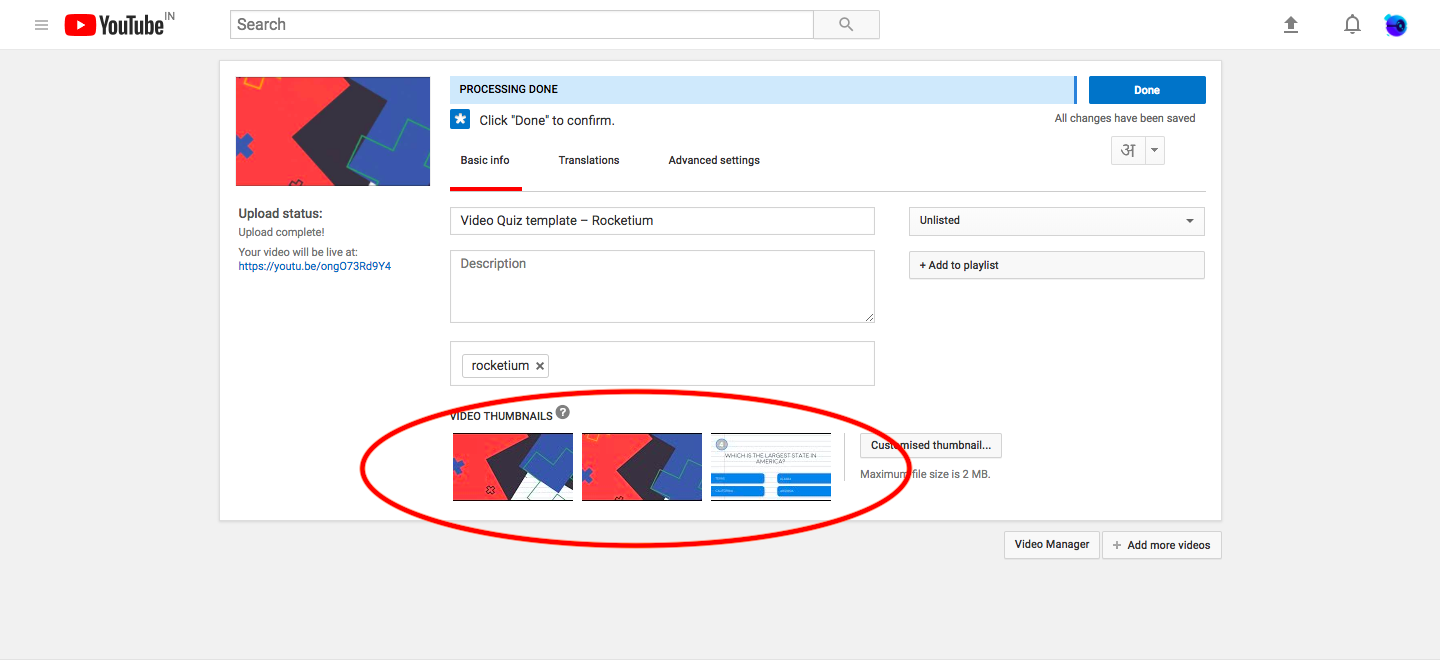 How to add thumbnail for new video in YouTube