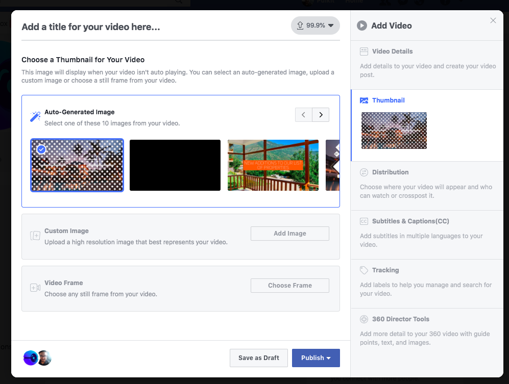 How to add thumbnail for a new facebook video