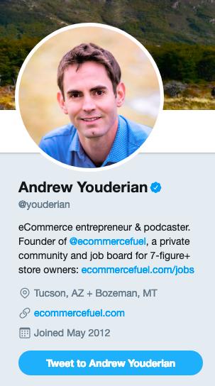 Andrew Youderian's Twitter account
