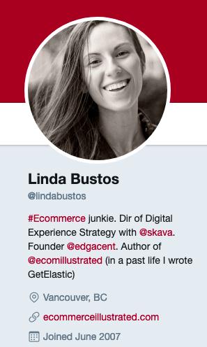 Linda Bustos's Twitter account
