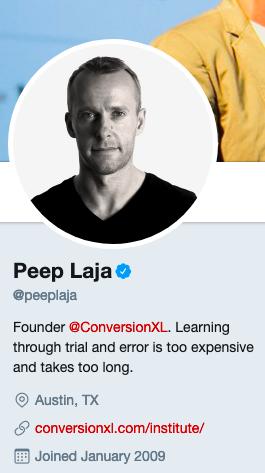 Peep Laja's Twitter account