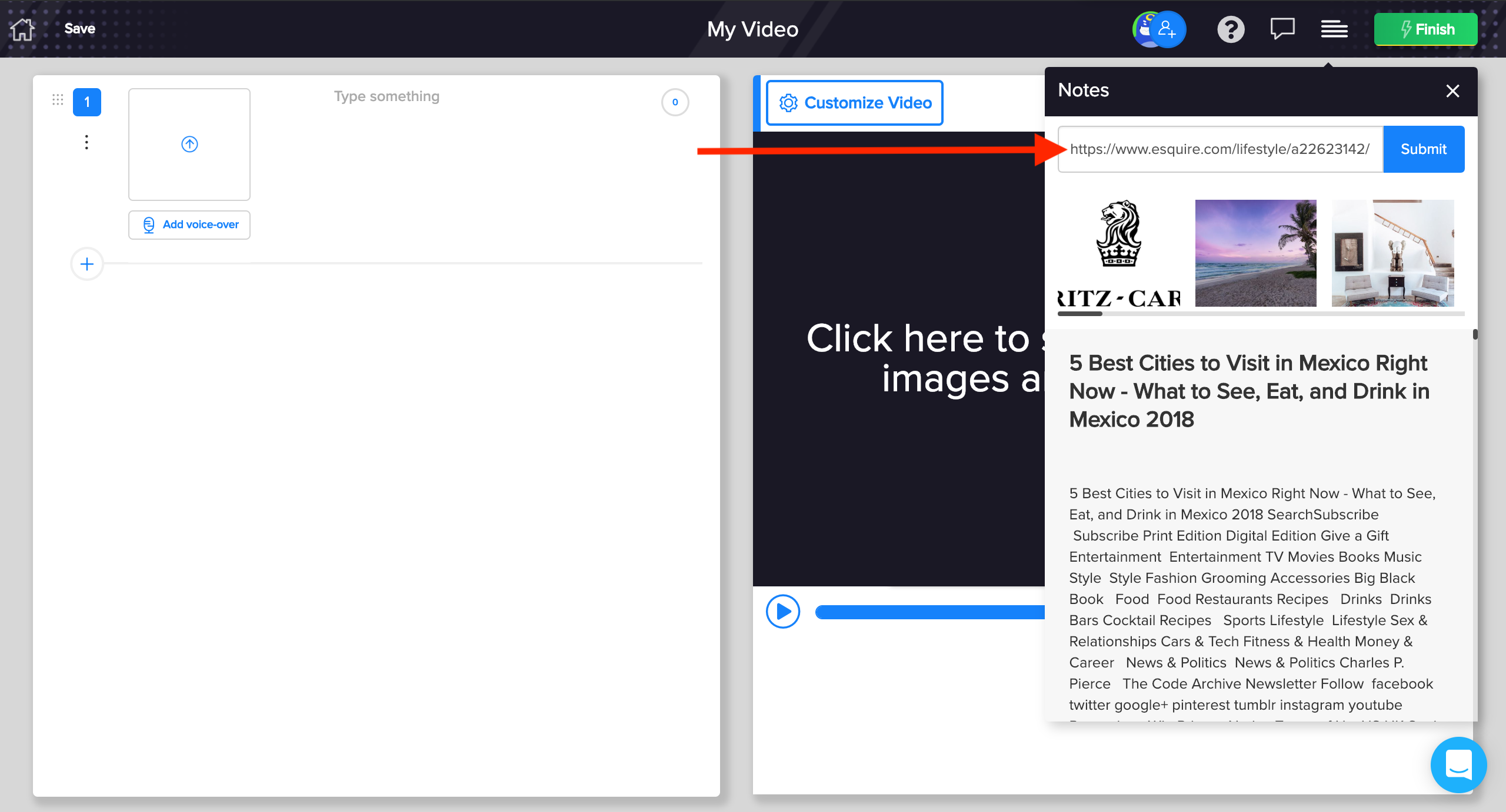 Step-2- enter URL to import article in rocketium video editor
