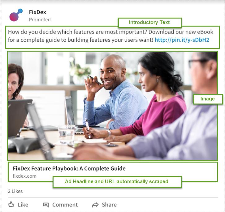 LinkedIn Sponsored Content specs