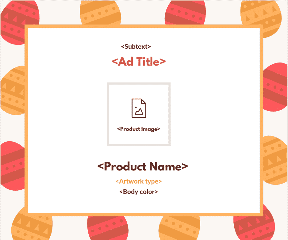 Custom templates to send a visual creative with placeholders for content elements like captions and images.