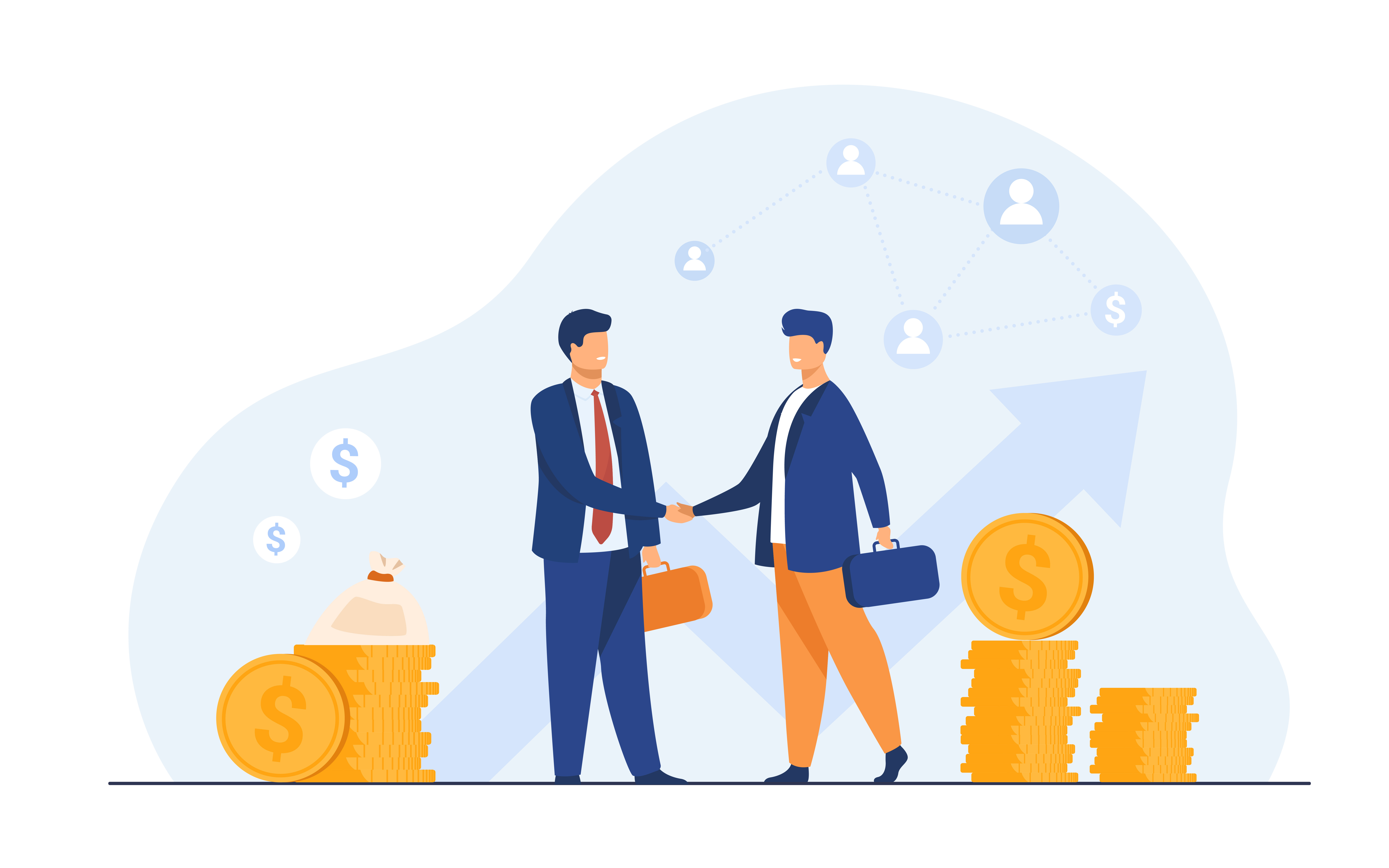 Two business partners handshaking flat vector illustration. Cartoon businessmen concluding agreement for success. Partnership, teamwork and negotiation concept