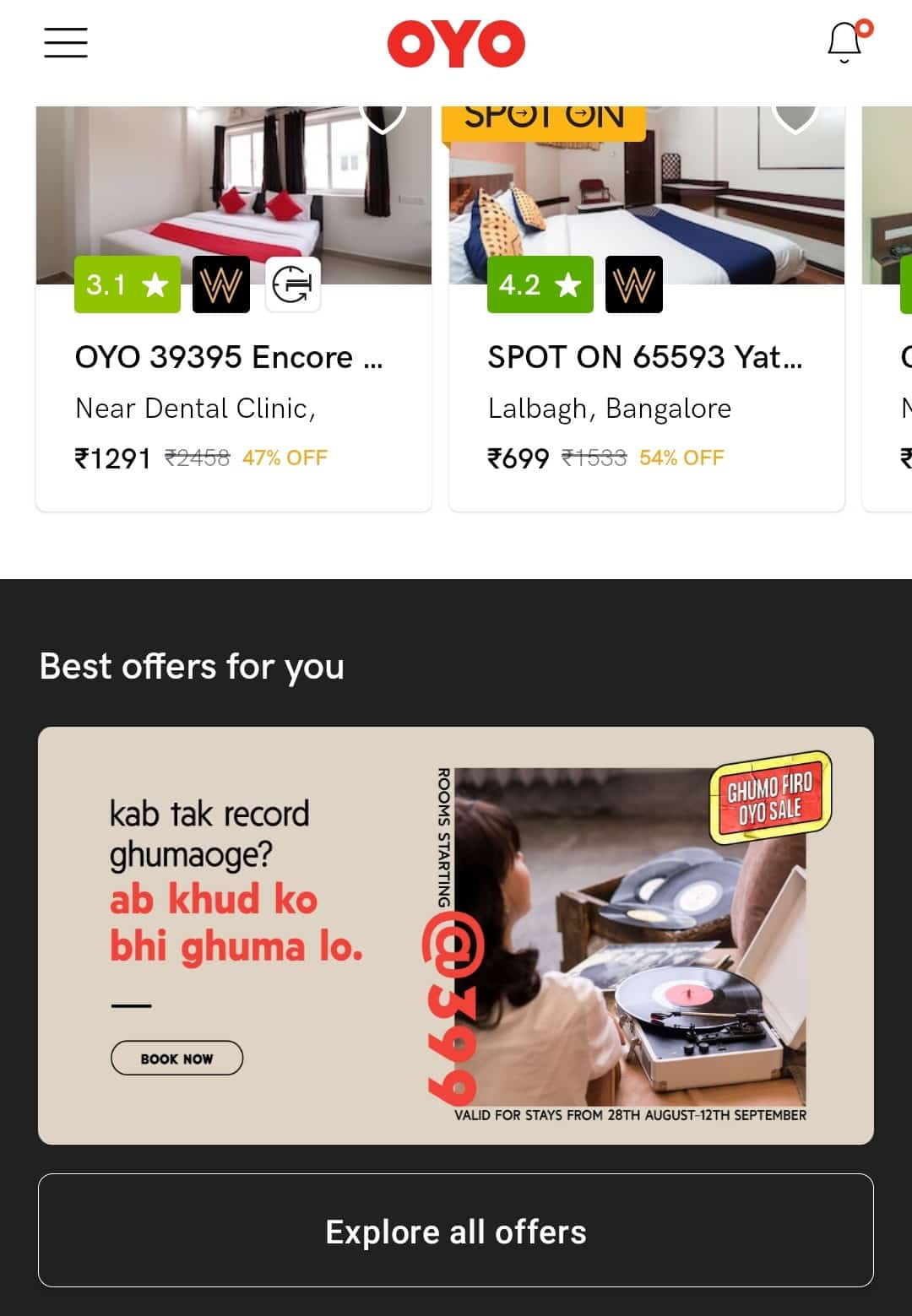 Digital marketing strategy for Travel Agencies: OYO Personalized in-app banners